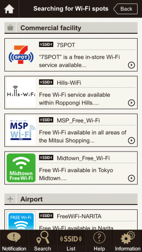 lists of Free Wifi