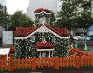 The Clock Tower of flowers in Odori Koen Park, Sapporo