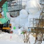 Big Snow Statues of Sapporo Snow Festival 2015 in progress