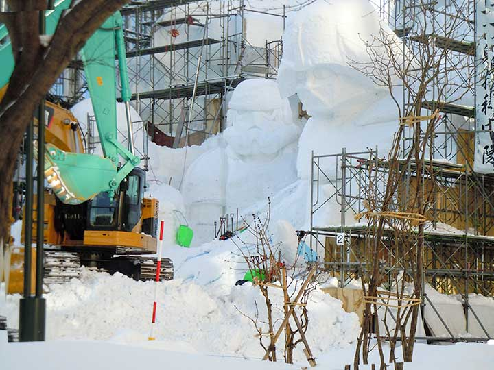 Big Snow Statues of Sapporo Snow Festival 2015 in progress